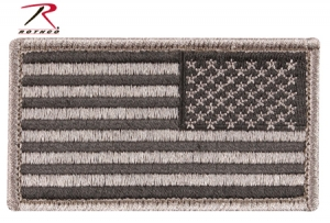 Rothco Reverse Foliage Green American Flag Patch with Hook and Loop Back - 17779
