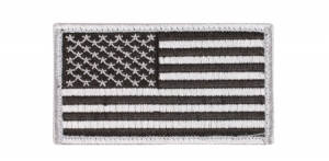 Rothco Silver/Black American Flag Patch w/Hook Back - 17781