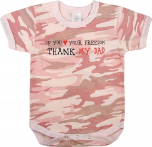 Rothco Infant Baby Pink Camouflage Thank My Dad One-Piece Bodysuit - 67055