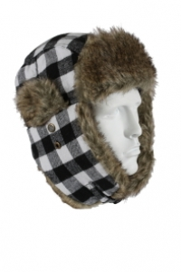 Rothco White Plaid Fur Flyers Hat - 9873