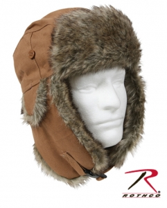 Rothco Brown Canvas Fur Flyers Hat - 9874