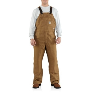 Carhartt Mens Flame-Resistant Canvas Bib Overalls - Carhartt Brown - 100163