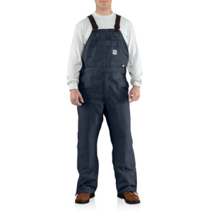 Carhartt Mens Flame-Resistant Canvas Bib Overalls - Dark Navy - 100163