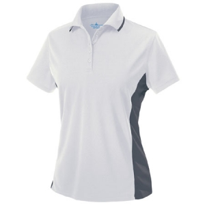 Charles River Womens Color Blocked Wicking Polo Shirt - White/Slate Grey - 2810