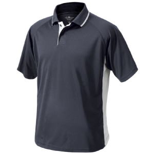 Charles River Mens Color Blocked Wicking Polo Shirt - Slate Grey/White - 3810