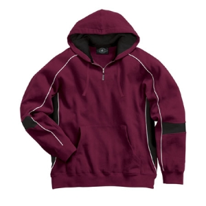Charles River Victory Hooded Hooded Sweatshirt - Maroon/Black/White - 9052