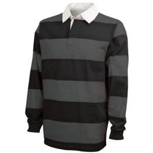 Charles River Classic Rugby Shirt - Black/Grey - 9278