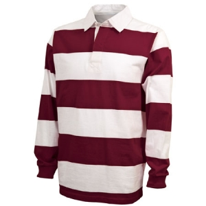 Charles River Classic Rugby Shirt - Maroon/White - 9278