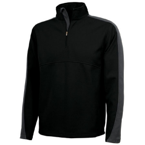 Charles River Quarter Zip Wicking Pullover Sweatshirt - Black/Grey - 9290