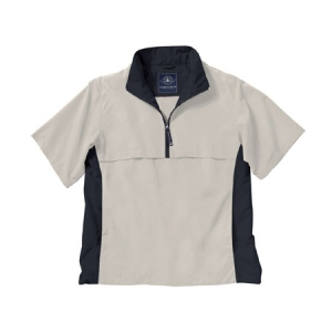 Charles River Ace Short Sleeve Windshirt - White Sand/Black - 9843