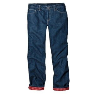 Dickies Womens Flannel Lined Jeans - Stonewashed Vintage Blue - FD117