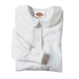 Dickies Girls Long Sleeve Peter Pan Collar Blouse - White - KL914