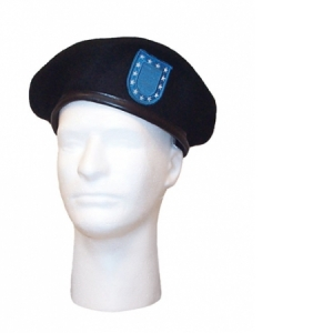 Rothco G.I. Type Black Wool Beret W/blue Flash - 4918
