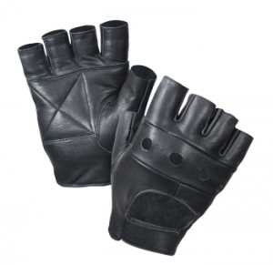 Rothco Black Leather Fingerless Biker Gloves - 3498