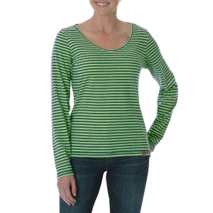 Dickies Womens Long Sleeve V-Neck Thermal Shirt - Baltic Blue/Lime Stripe - FL073