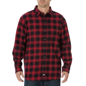 Dickies Mens Long Sleeve Brawny Shirt - English Red/Black Plaid - WL541
